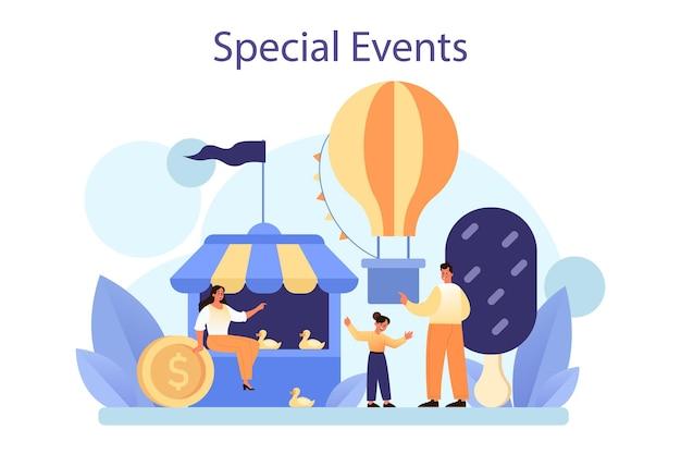Speciale evenementen concept. vermakelijke sociale activiteit als marketingcampagne voor bedrijfspromotie. openbare presentatie of bedrijfsfeestorganisatie. platte vectorillustratie