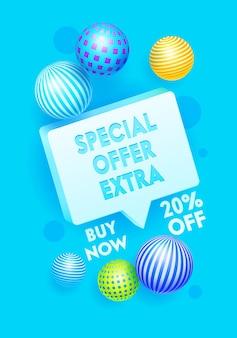 Speciale extra aanbieding banner met korting en bollen Premium Vector