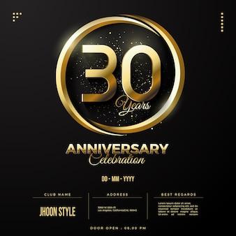 Speciale gouden editie voor uitnodiging voor 30-jarig jubileumfeest