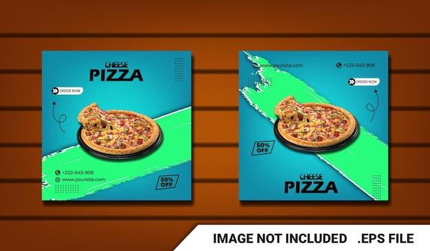 Speciale heerlijke kaas pizza social media postsjabloon