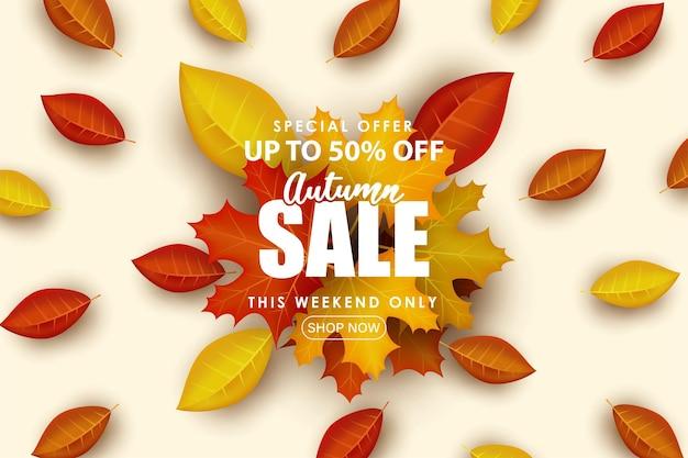 Speciale herfst verkoop moderne en schone achtergrond.