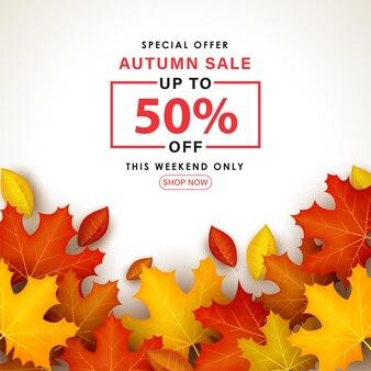 Speciale herfstverkoop met bladeren op witte achtergrond.