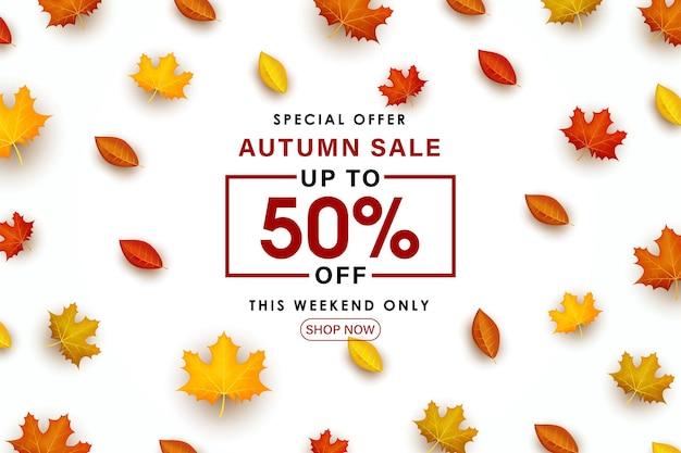 Speciale herfstverkoop met verspreide bladerenillustratie.