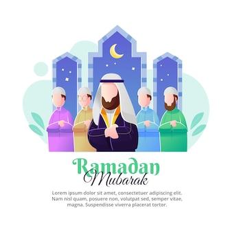 Speciale illustratie van de activiteiten van gebed samen in de maand ramadan