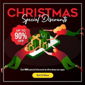 Speciale kerstkorting met mensen die naar het promotieartikel vliegen