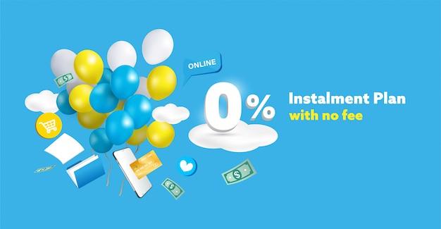 Speciale korting of promotie advertentie achtergrond en banner. nul procent afbetalingsplan zonder kostenconcept.