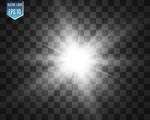 Speciale lensflits, lichteffect. de flits flitst stralen en zoeklicht. illust.white gloeiend licht. mooie ster licht van de stralen. de zon is van achteren verlicht. heldere mooie ster. zonlicht. schittering.