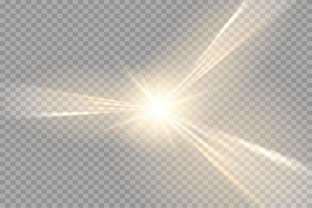 Speciale lensflits, lichteffect. de flits flitst stralen en zoeklicht. illust.wit gloeiend licht. mooie ster licht van de stralen. de zon is verlicht. heldere mooie ster. zonlicht. schittering.