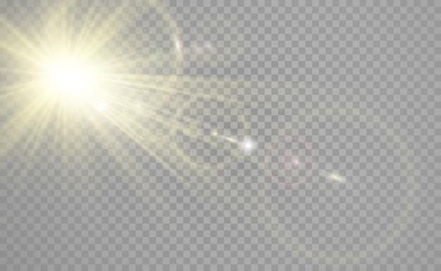 Speciale lensflits, lichteffect. de flits flitst stralen en zoeklicht.