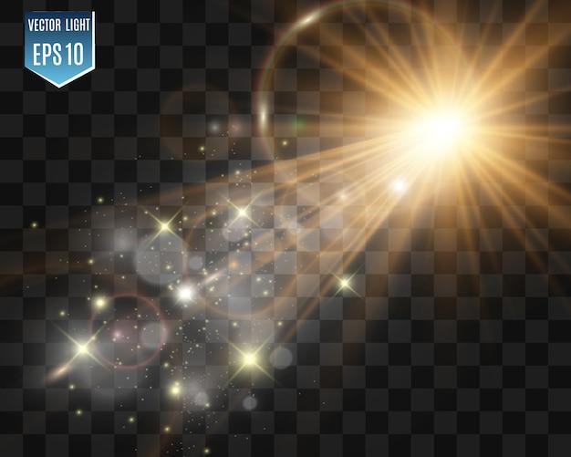 Speciale lensflits, lichteffect. de flitser flitst stralen en zoeklicht. illust.wit gloeiend licht. mooi sterlicht van de stralen. de zon is verlicht. heldere mooie ster. zonlicht. verblinding.
