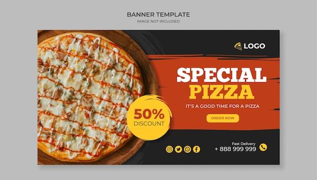 Speciale pizza eten sjabloon voor spandoek voor pizzarestaurant