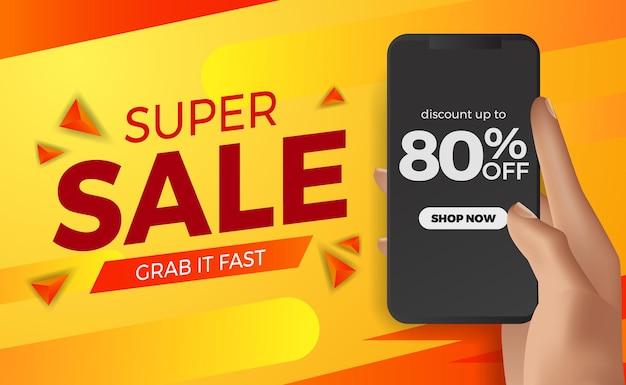 Speciale super sale aanbieding korting sjabloon voor spandoek met hand met telefoon
