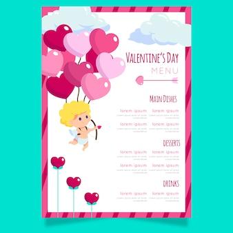 Speciale valentijnsdag menusjabloon