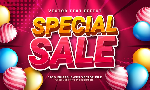 Speciale verkoop 3d-teksteffect, bewerkbare tekststijl en geschikt voor promotieverkoop