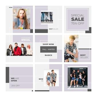Speciale verkoop met modellen instagram-puzzelfeed