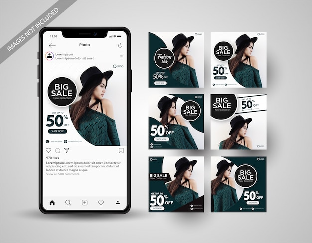 Speciale verkoop social media post collectie instagram