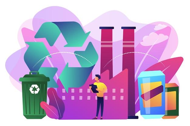 Specialist in planten die plastic recyclen tot grondstof, afvalbak. mechanische recycling, back-to-plastic recycling, concept van hergebruik van afvalmateriaal.