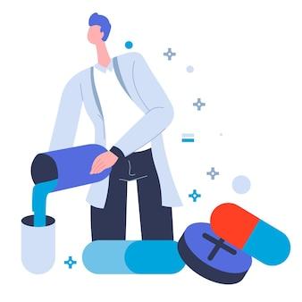 Specialist productie pillen en capsules, antibiotica of vaccin. testen en produceren van stoffen voor patiënten. wetenschappers voeren experiment uit in het laboratorium, arts in laboratoriumvector in flat