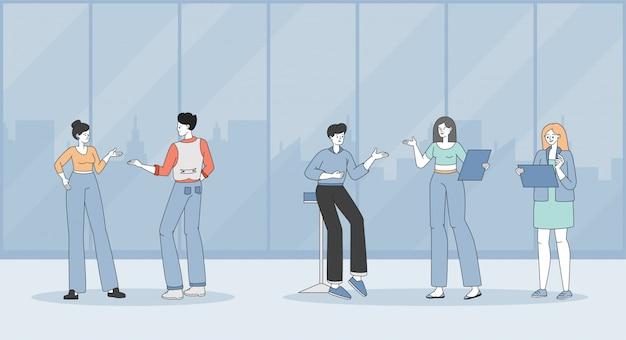 Specialisten tijdens zakelijke bijeenkomst of koffiepauze op het kantoor cartoon overzicht illustratie.