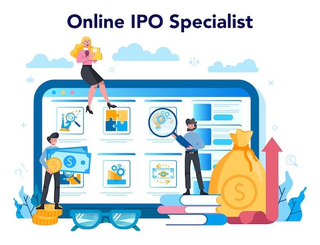 Specialistische online service of platform voor initial public offerings