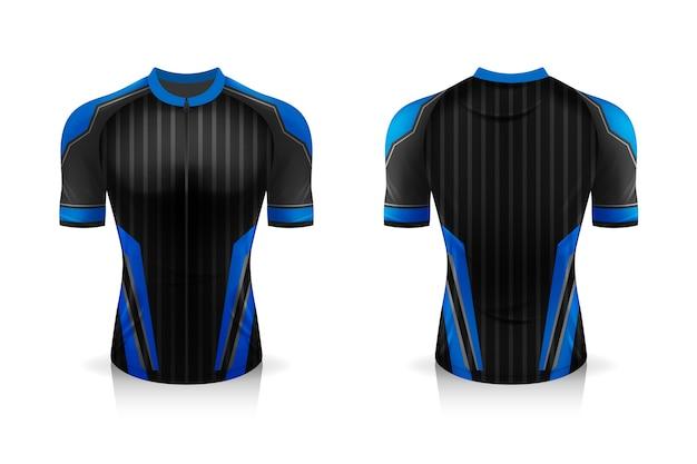 Specificatie fietsshirt sjabloon. bespotten sport t-shirt ronde hals uniform