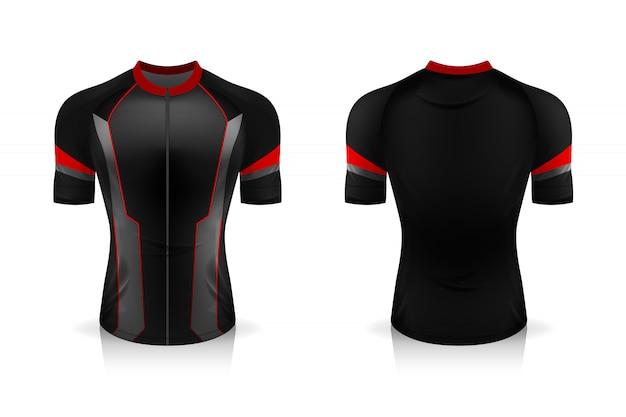 Specificatie fietsshirt sjabloon. sport t-shirt met ronde hals voor fietskleding. illustratieontwerp, afzonderlijke werklagen.