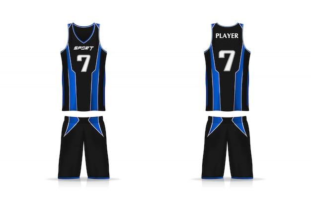 Specificatie mand jersey-sjabloon. sport t-shirt v-hals uniform. afbeelding ontwerp