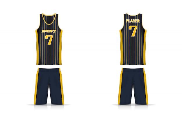 Specificatie mandje jersey en korte broek sjabloon. Premium Vector
