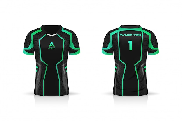 Specificatie soccer sport, esport gaming t shirt jersey-sjabloon. mock up uniform. vector illustratie ontwerp