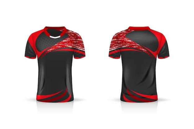 Specificatie soccer sport, esport gaming t-shirt jersey-sjabloon. uniform.