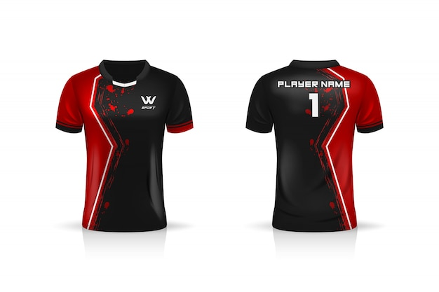 Specificatie soccer sport, esport gaming t shirt jersey-sjabloon.