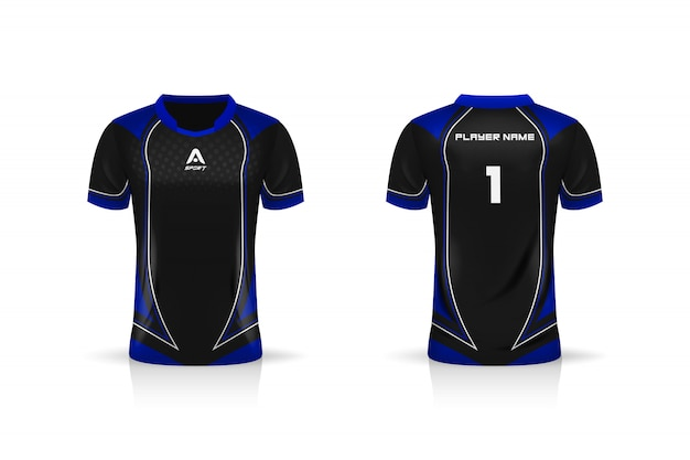 Specificatie soccer sport, esports gaming t shirt jersey-sjabloon. uniform. afbeelding ontwerp