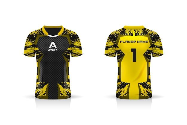Specificatie soccer sport, esports gaming t-shirt jersey-sjabloon. uniform.