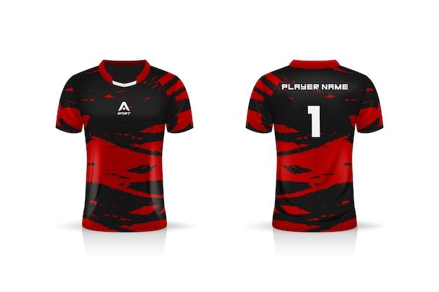 Specificatie soccer sport, esports gaming t-shirt jersey-sjabloon.