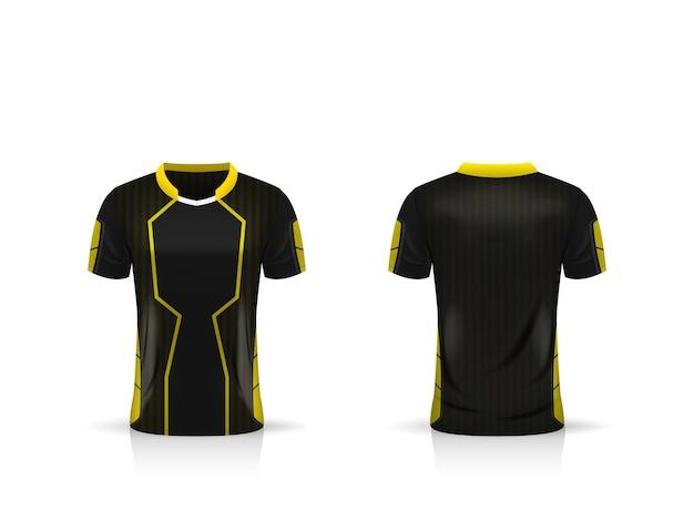 Specificatie voetbal sport, esport gaming t-shirt jersey sjabloon.