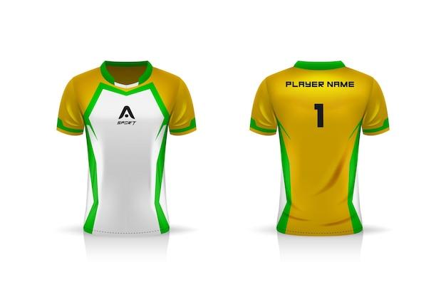 Specificatie voetbalsport, esport gaming t-shirt jersey-sjabloon.