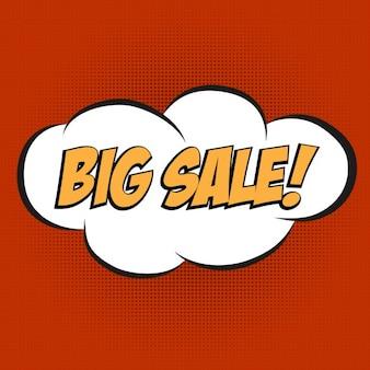 Speech bubble in popart stijl met bericht big sale
