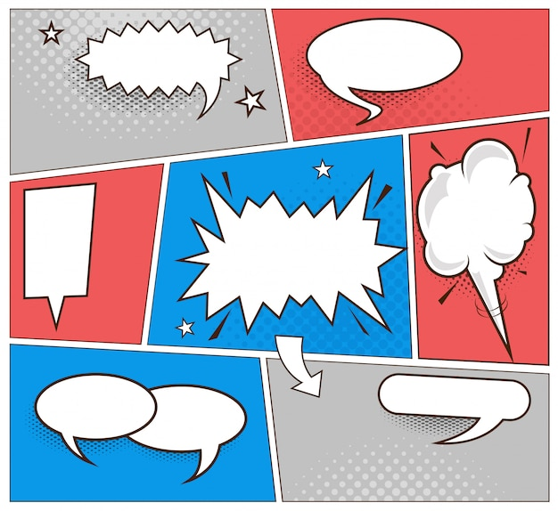 Speech bubbles comic book set.