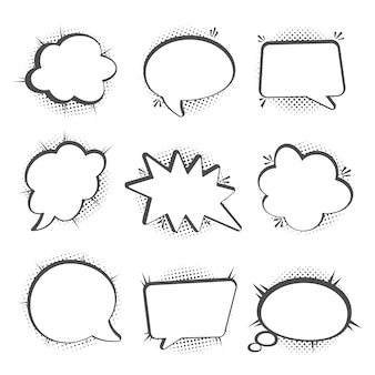 Speech bubbles set, halftone shadows
