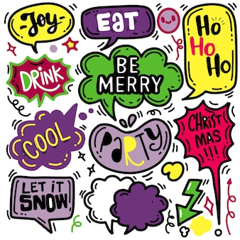 Speech bubbles set met kerstgroeten