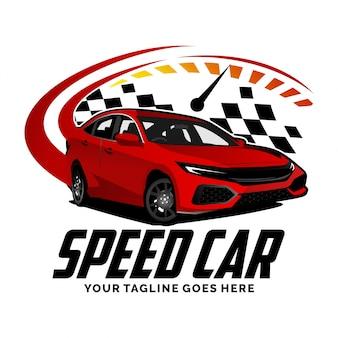 Speed auto met snelheidsmeter logo ontwerp inspiratie