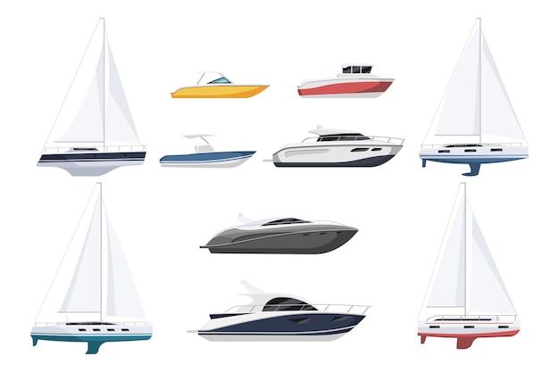 Speed motorboot, zeilboot en luxe jacht nautisch schip. cruise zeilboot, surfen en zeilen schip, motorboot voor watersport set vectorillustratie geïsoleerd op een witte achtergrond