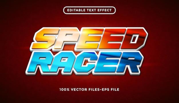 Speed racer bewerkbare teksteffect premium vector