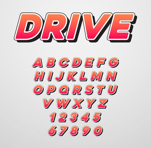 Speed racing sport cursief lettertype met letters en cijfers