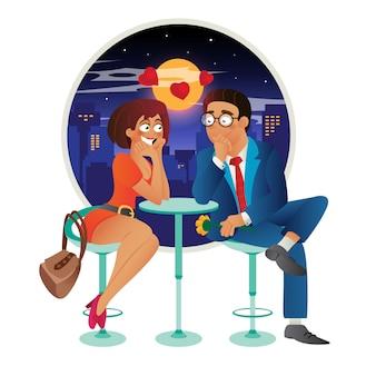 Speeddating romantische liefdesgebeurtenis in café - jonge zakenvrouw en man paar op een date, praten, ontmoeten, flirten en verliefd worden.