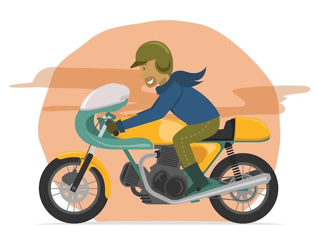 Speeding classic motorcycle rider