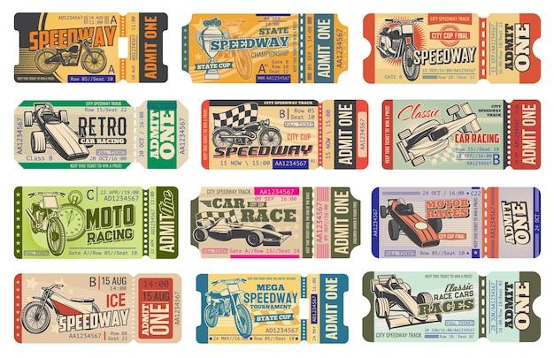 Speedway motorsport racen vintage kaartjes geïsoleerde sjablonen