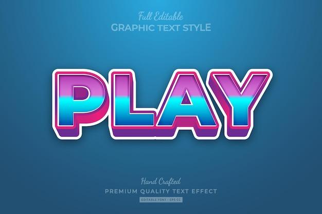 Speel cartoon bewerkbare premium teksteffect lettertypestijl