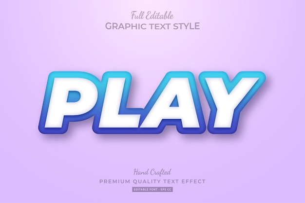Speel gradient blue premium teksteffect bewerkbaar