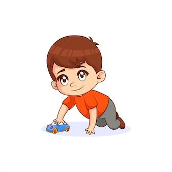 Speel het autospeelgoed van little boy, met witte achtergrond